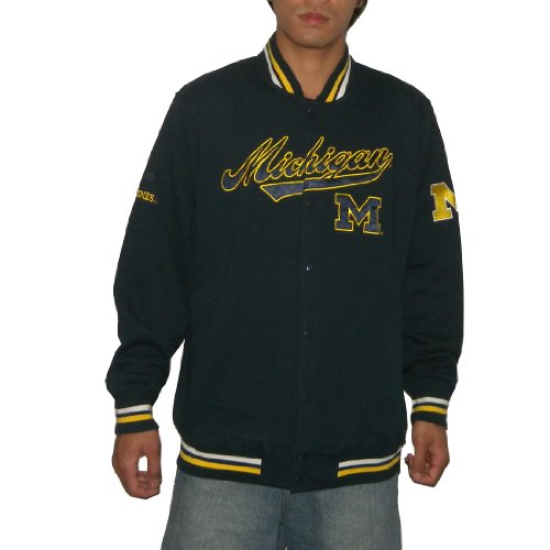NCAA Michigan Wolverines Mens Athletic Warm Snap-Button Down Colllegiate Jacket / Sweatshirt with Embroidered Logo (Size: L)