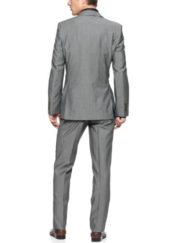DKNY Donna Karan DKNY Slim Fit Gray 2-Button Suit 42 R 42R Flat Front Pants 35W