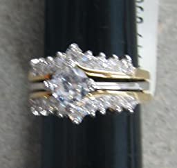 R.S. Coventant 287 CZ Crystal 2 Piece Set/2 Tone Ring Size 9