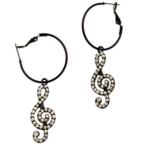 Acosta - Black & Clear Crystal - Treble Clef Music Charm Hoop Earrings