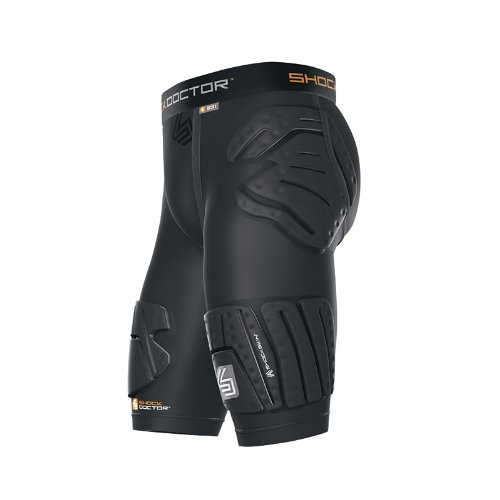 Shock Doctor Shockskin 5-Pad EXT Thigh Impact Short (Grey, Men's XX-Large)