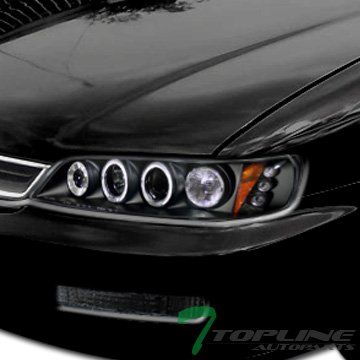 Topline Autopart Black Drl Led Dual Halo Rims Projector Head Lights Corner 1Pc 94-97 Honda Accord (Honda Accord Sedan Rims compare prices)