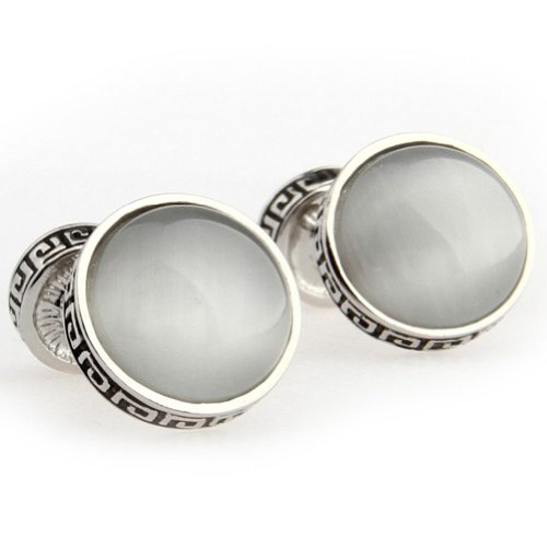 Beour White-Gold-Plated-Silver Silver Round Metal Inlay Opal Cufflinks