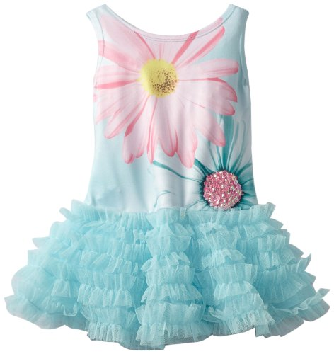 Kate Mack Baby-Girls Infant Dipped In Daisies Tutu Dress, Aqua, 0-9 Months