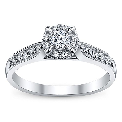 0.58 Carat Halo Diamond Engagement Ring with Round cut Diamond on 18K White gold