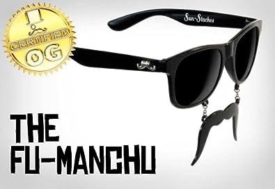 New Vintage Style Wayfarer Mustache Sunglasses Black Frame & Lenses (Style 2)