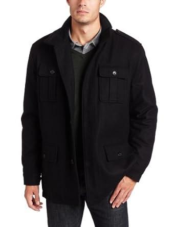 2d3334bf Michael Kors Men's Quincy Wool Blend Button Front Multi Pocket Field Coat,  Black, X-Large