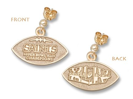 New Orleans Saints Super Bowl XLIV Champions Two-Sided Football Ball Earrings - Gold Plated Jewelry