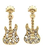 Trendy Small Crystal Embellished Gold Tone Rocker Guitar Stud Earrings for Girls Teens and Women