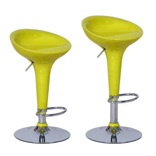 Adeco Yellow High Gloss Form Fitted, Adjustable Backless Barstool Chrome Finish Pedestal Base (Set Of Two) front-107970