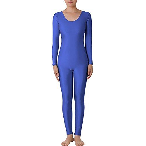 Muka Scoop Neck Long Sleeve Unitard Lycra Zentai Bodysuit Catsuit Dancewear DARKBLUE-L (Army Costume Hire)