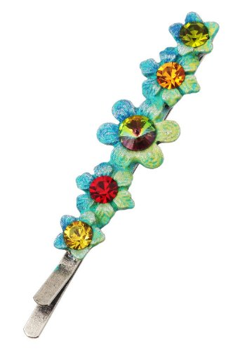 Michal Negrin Silver Coated Hair Pin with well-crafted Hand Painted Flowers and Sparkling Swarovski Crystals - Very Feminine, Hypoallergenic