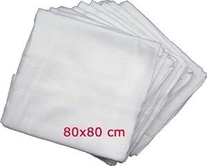 10 muselinas paños para el eructo 80x80 cm - Oeko-Tex 100 blancos marca Original nur von Windelkiste en BebeHogar.com