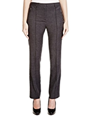 Per Una Roma Wool Blend Straight Leg Textured Trousers