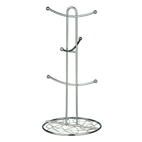 Sur Pied en métal 6crochets Tasse à café de rangement/verres de cuisine décoratif Arbre Support Noir et chromé chrome