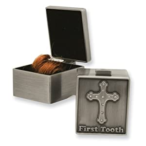 Pewter First Tooth & Curl Memory Box Set, Cross