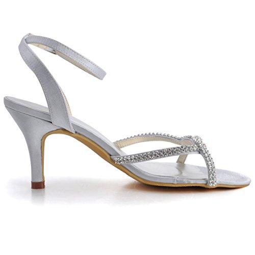 Elegantpark EP2056 Women Open Toe High Heel Rhinestones Ankle Straps Satin Prom Evening Sandals Silver US 8