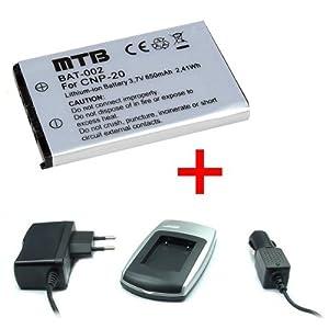 Batería + Cargador NP-20 para Casio Exilim EX-Z18, EX-Z60, EX-Z65, EX-Z70, EX-Z75
