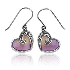 Sterling Silver Marcasite and Purple Epoxy Heart Earrings