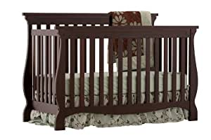 Stork Craft 04587-109 Carrara 4-In-1 Fixed Side Convertible Crib (Espresso)