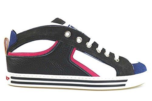 scarpe uomo DSQUARED sneakers nero / grigio / bianco / blu pelle / camoscio / vernice AM649 (44 EU)