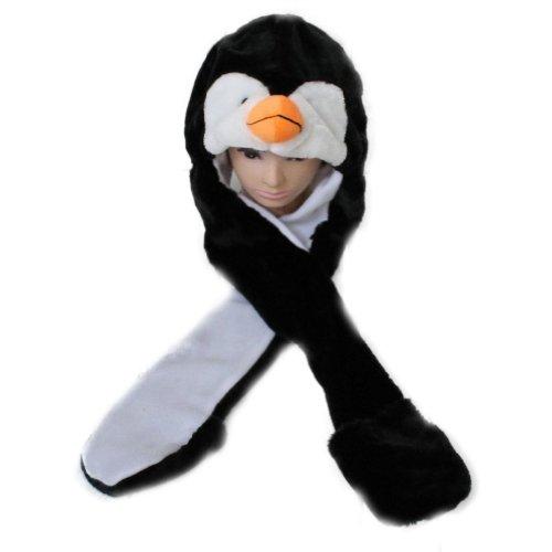 Zehui Süße Plüsch Mütze Mit Schal Und Handschuhe 3 in 1 80CM (Penguin)