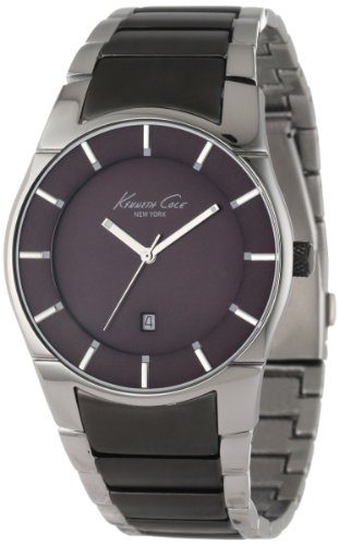 Kenneth Cole Men's Quartz Watch with Grey Dial Analogue Display and Black Stainless Steel Bracelet KC9036