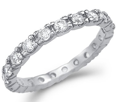Size- 5 - New Solid 14k White Gold Eternity Wedding Round CZ Cubic Zirconia Band Ring Size 5, 6, 7, or 8