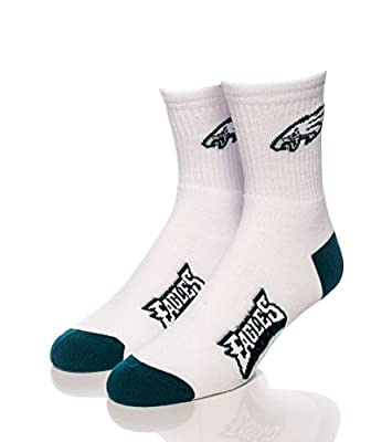 NFL Philadelphia Eagles Men's Quarter Socks, White