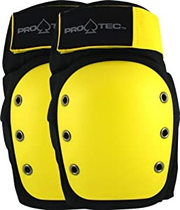 Buy PRO-TEC Rental Black Yellow Medium Knee Skateboard Pads by Pro-Tec