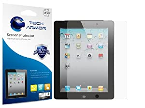 Tech Armor Apple iPad 4, 3 & 2 [NOT FOR NEW IPAD AIR] High Defintion (HD) Clear Screen Protectors -- Maximum Clarity and Touchscreen Accuracy [2-Pack] Lifetime Warranty