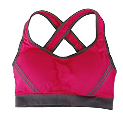 Imported Women Yoga Stretch Workout Tank Top Seamless Padded Sports Bra Rose M