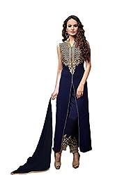 Merito Blue Georgette Plazo Fancy Dress Material