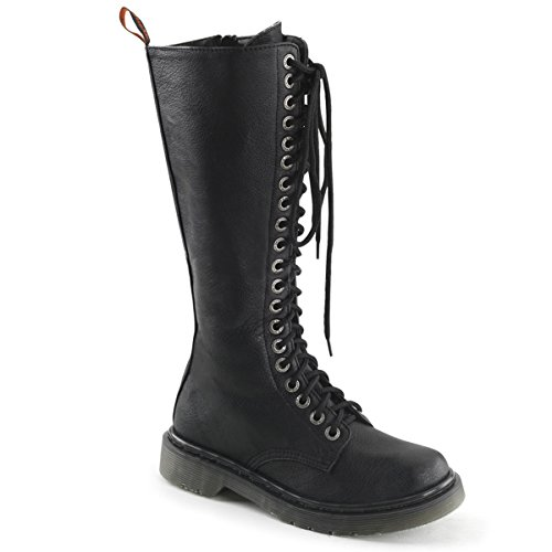 Womens Black Tall Combat Boots with 20 Eyelet Lace Up Front and 1.25'' Heels