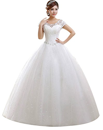 Eyekepper Double Shoulder Floor Length Bridal Gown Wedding Dress Custom Size (14, White)