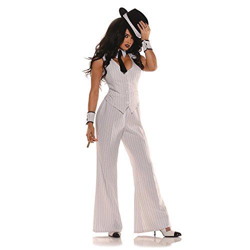 Dodgeirtdg Women's Mob Boss Costume, White/Black Multi X-Large (Mob Boss Tie)