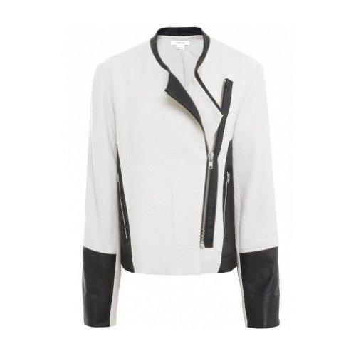 Helmut Lang Women's Striped Jacquard & Leather Jacket UK 12 Cream