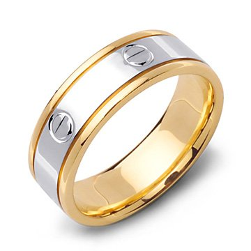 CARTIER Contemporary 14K Two Tone Gold Wedding Band Ring