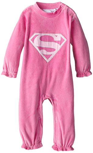 Warner Brothers Baby Baby-Girls Newborn Supergirl Light Pink Velour Coverall