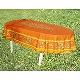 jojo la cigale - Tablecloth LE CLOS DES OLIVIERS Oval Spill-Proof Cotton Print 160x250cm Terracotta