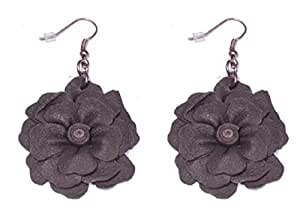 Sg Paris Fashion Jewellery Fish Hook Earring Woman Leather Brown Flower