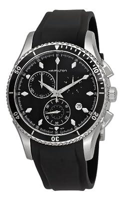 Hamilton Men's H37512331 Jazzmaster Seaview Black Chronograph Dial Watch