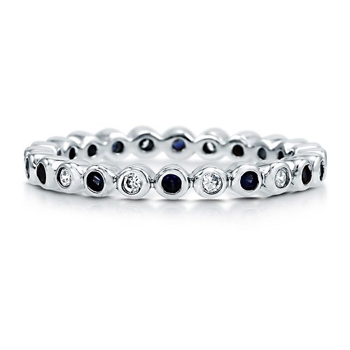 Sapphire Clear Cubic Zirconia Sterling Silver Alternate Eternity Ring - Nickel Free Engagement Wedding Band Ring Size 4