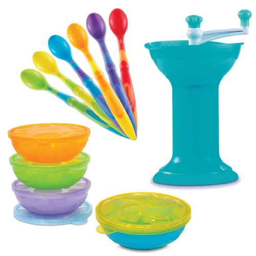 Munchkin Food Grinder With Stack A Bowls Set And 6-Pack Infant Soft Tip Spoons front-462236