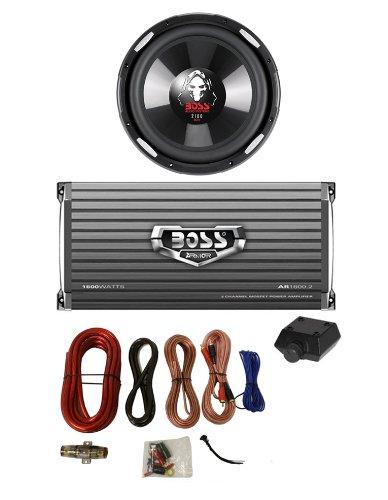 """Boss P106Dvc 10"""" 2100W Subwoofer Sub + Ar16002 1600W 2-Ch Amp + 4 Gauge Amp Kit"""
