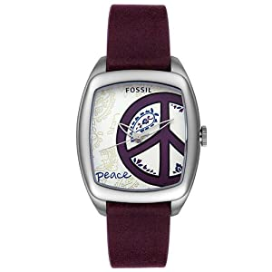 com: Fossil Women's ES2305 Peace Purple Leather Watch: Fossil: Watches