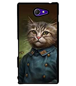 Printvisa Cat In A Uniform Back Case Cover for Sony Xperia M2 Dual D2302::Sony Xperia M2