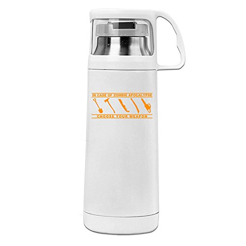 MeiXue In Case Of Zombie Apocalypse Choose Your Weapon Design Vacuum Cup Water Bottle White
