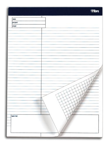 Tops Docket Gold Project Planning Pad, 8-1/2 X 11-3/4 Inches, Perforated, White, Project Rule, 40 Sheets Per Pad, 4 Pads Per Pack (77102)