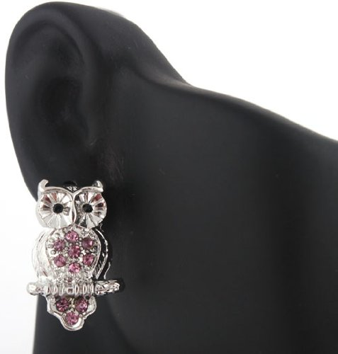 Ladies Silver with Purple Iced Out Owl on Branch Stud Earrings